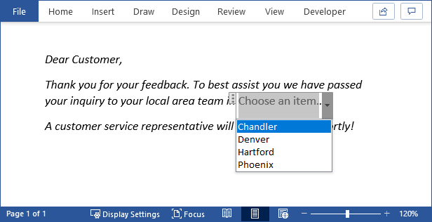 A dropdown box in a Word document