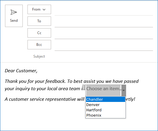 Dropdown list copied to an Outlook message