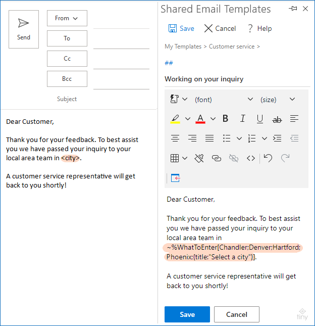A dropdown list is added to an email template.