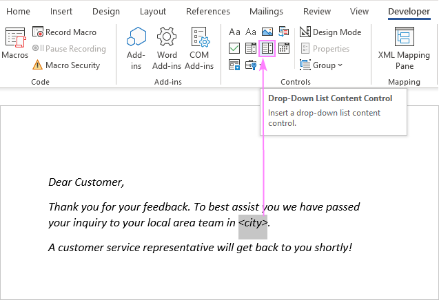 Insert a drop-down control in a Word document.