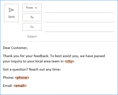 Email template with several related variables