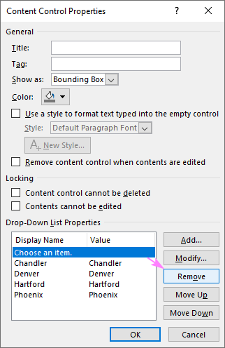 Save the drop down list.