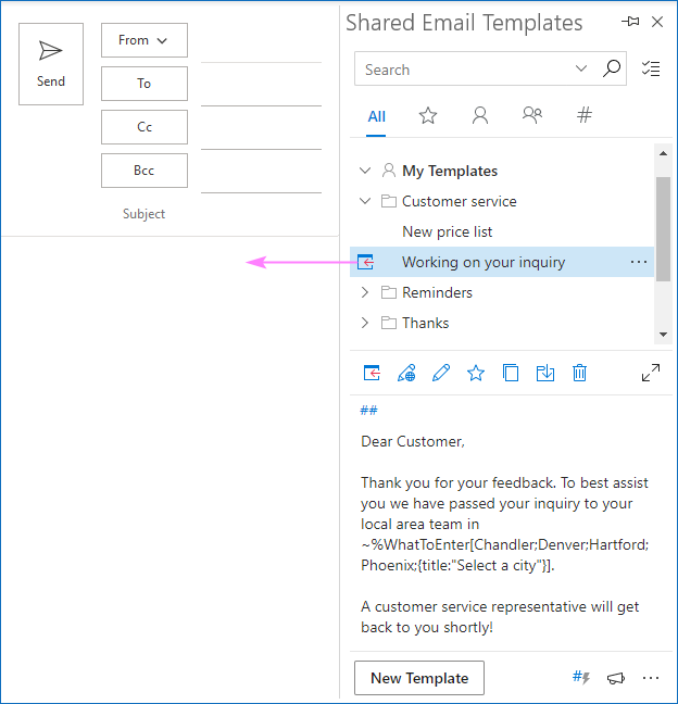 Inserting a template with a drop-down list not a message