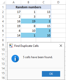 Duplicate cells are found and highlighted.