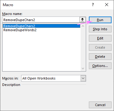 A macro to remove repeated characters from each cell in the selected range
