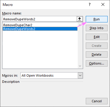 A macro to delete duplicate text from all cells in the selected range