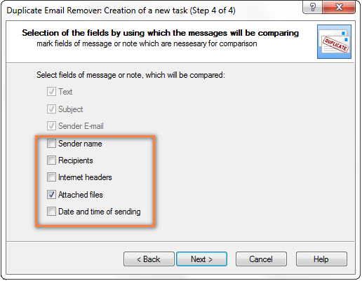 Define which message fields to compare for duplicates.