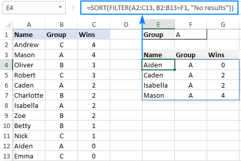 Combining several dynamic array functions in one formula