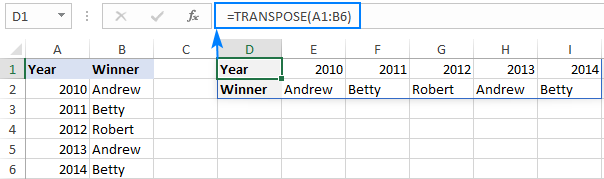 TRANSPOSE formula with dynamic arrays
