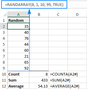 Using the spill range reference in Excel