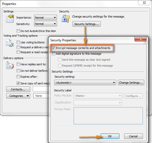In the Security Properties dialog window, check the 'Encrypt message contents and attachments' check box.