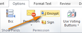 To send an encrypted email message, click the Encrypt button.
