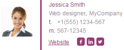 Email signature example with a photo
