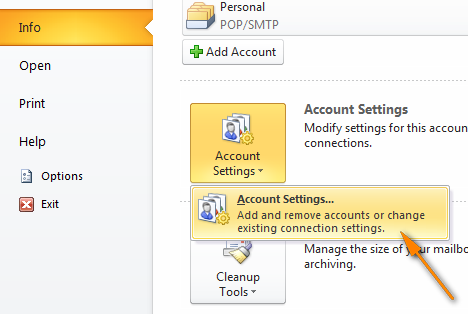 Go to the File tab > Info, and click Account Settings twice.