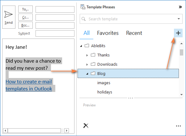 Creating a new template for Outlook emails