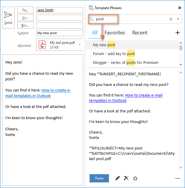 Double-click to insert a template into an email message.