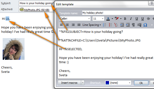 how to create an outlook email template
