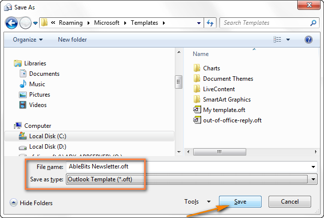 Saving An Outlook E Mail Template