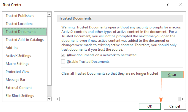 Clearing all trusted documents