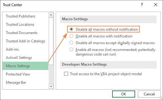 Disabling macros in Excel