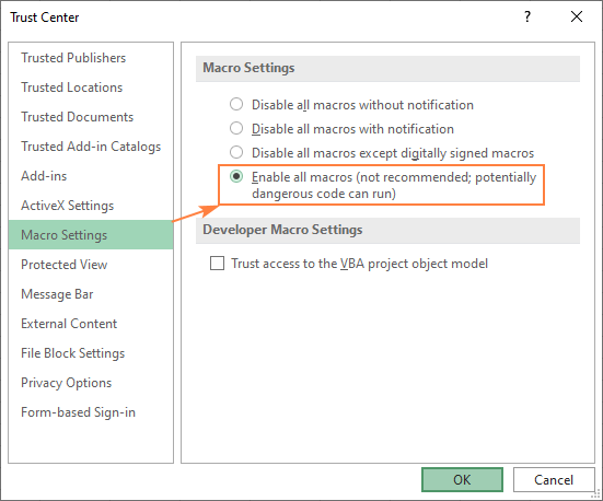 Enable all macros in Excel by default.