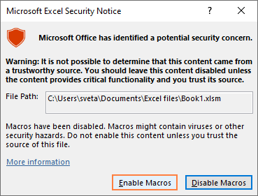 Microsoft Excel Security Notice