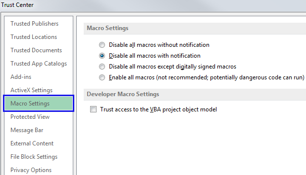 Select the Macro Settings option