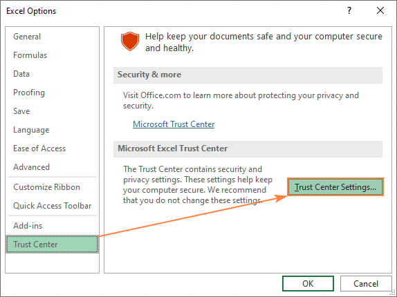 Trust Center Settings