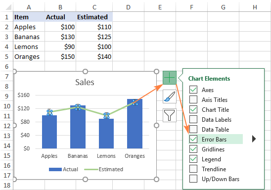 Adding error bars for a specific data series