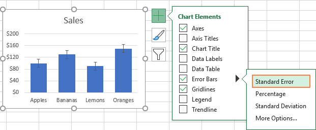 Adding error bars in Excel