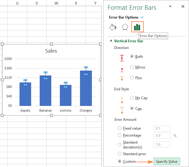 Making custom error bars in Excel
