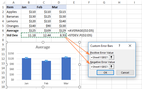 Adding custom standard deviation error bars