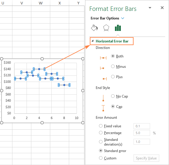 Customize horizontal error bars in Excel chart.