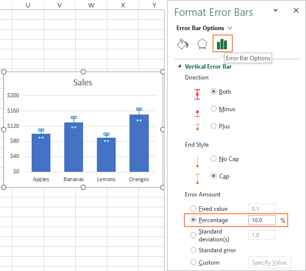 Error bars in Excel: standard and custom