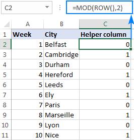 Identify every other row using a Mod formula.