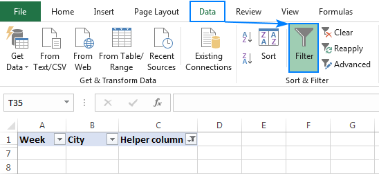 Remove filter in Excel.