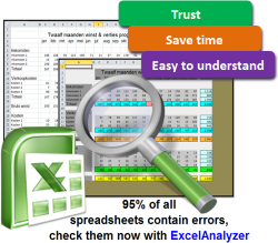 Check spreadsheet errors with ExcelAnalyzer