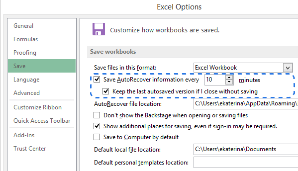 Go to the Save tab in the Excel Options dialog to configure the AutoSave / AutoRecover settings