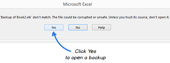 Click Yes to confirm that you really want to open a backup copy