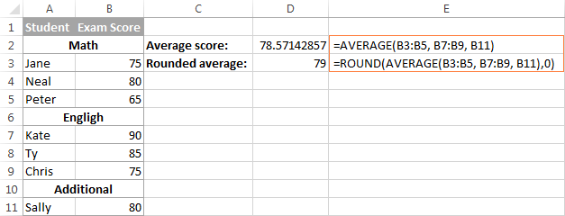 Using the AVERAGE function in Excel