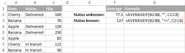 Finding an average of values corresponding to blank and non-blank cells