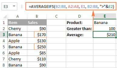 An AVERAGEIF formula to average cells by multiple criteria