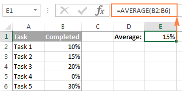 Calculating an average percentage in Excel