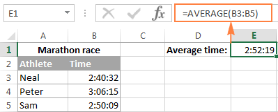 Calculating average time in Excel