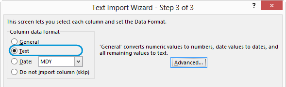 Pre-format cells as text