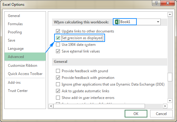 Setting Excel calculation precision as displayed