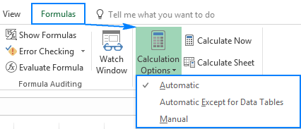 Changing Excel calculation options