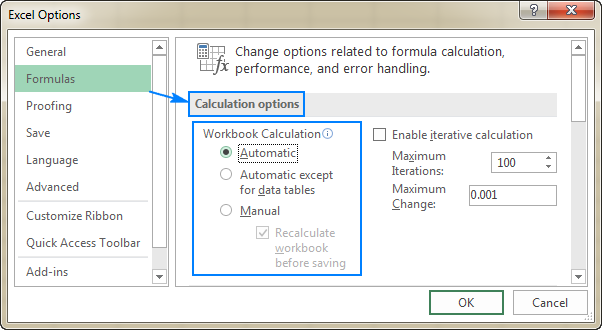Excel calculation settings