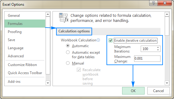Enabling Excel iterative calculation