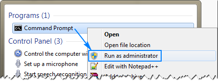 Right click Command Prompt, and then click Run as Administrator.